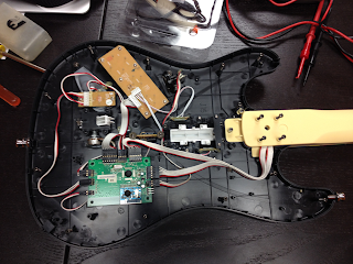 Inside the guitar controller