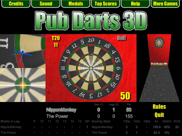 Pub Darts 3D - 501 Match - Bull Finish