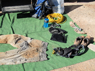 A sign of good times in High Spur--muddy clothes and gear