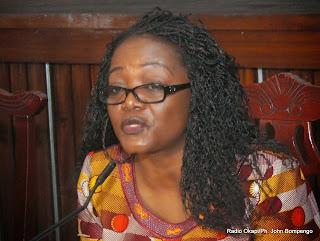 Le ministre de la Justice, Wivine Mbumba le 10/12/2013 à Kinshasa, lors de la célébration de la 65e journée mondiale des droits de l'homme. Radio Okapi/Ph. John Bompengo