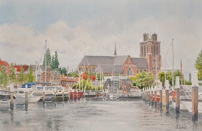 Haven in Dordrecht met Onze lieve vrouwekerk http://www.watercolours.nl/