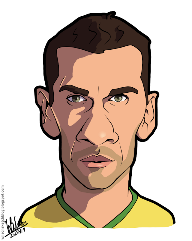 Cartoon caricature of Daniel Alves.