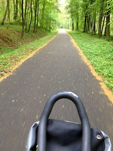 Fahrradweg auf alter Bahntrasse von Dannemarie am Grumbach ins elsässische Jura