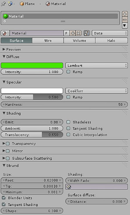 blender materials strands grass settings trawa