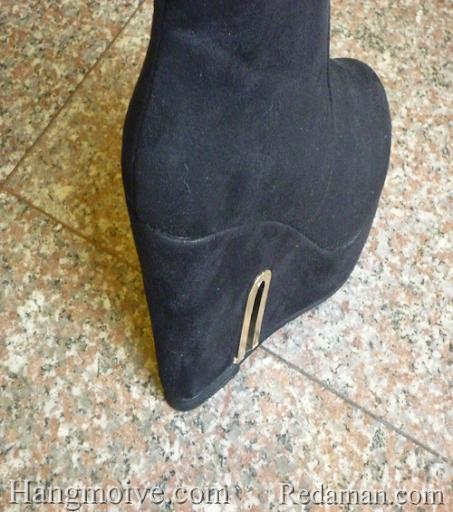 Boots đế xuồng, cao cổ quá đầu gối, chất liệu bằng da lộn, màu đen 6 - Chỉ với 790.000đ