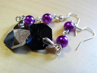 biżuteria z półfabrykatów - szare kryształki