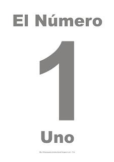 Lámina para imprimir el número uno en color gris
