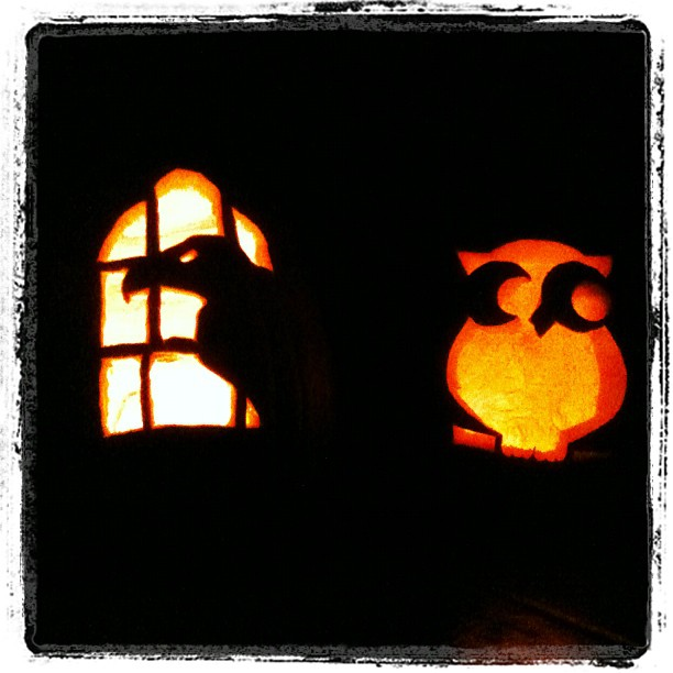 carved jack-o-lanterns