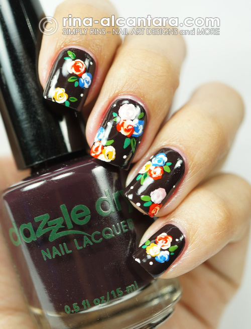 Bunch of Flowers Nail Art Design on Dazzle Dry Pumped Up Purple