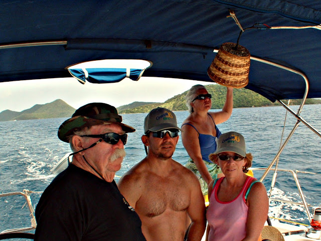 With my mates on the Jorvik, in the British Virgin Islands.