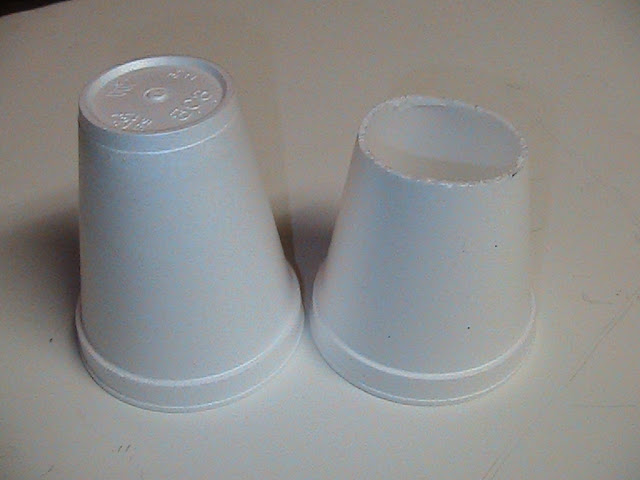 A 1.5 cm high by 5 cm dia. styrofoam cover