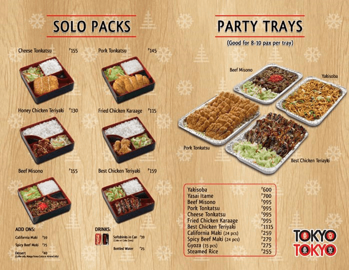 Tray Kitchen Menu