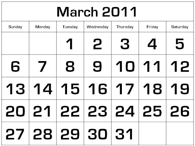 printable calendars for march 2011. 2011 March Printable