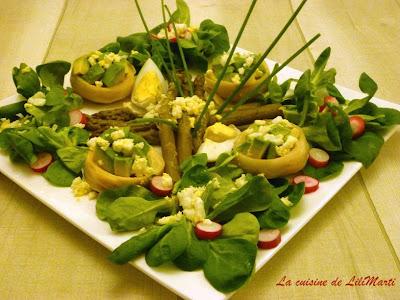 Salade verte aux fonds d'artichaut, avocat et asperges
