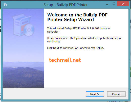 Bullzip PDF Printer Setup Screen in Windows 8.1