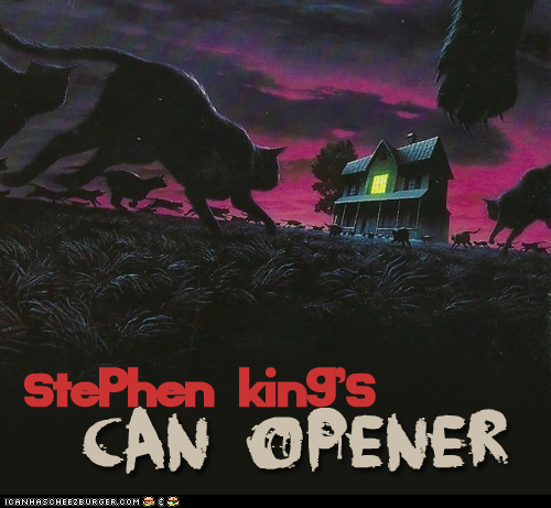 poster of a bunch of black cats running toward a house...Stephen King's The Can Opener