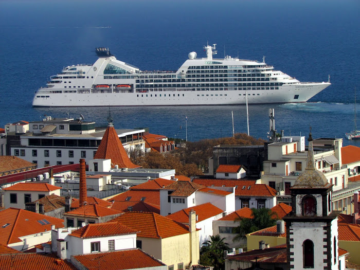 the cruise ship and the city roofs