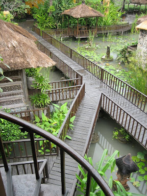 Bridges over ponds at Hotel Tugu in Bali Indonesia