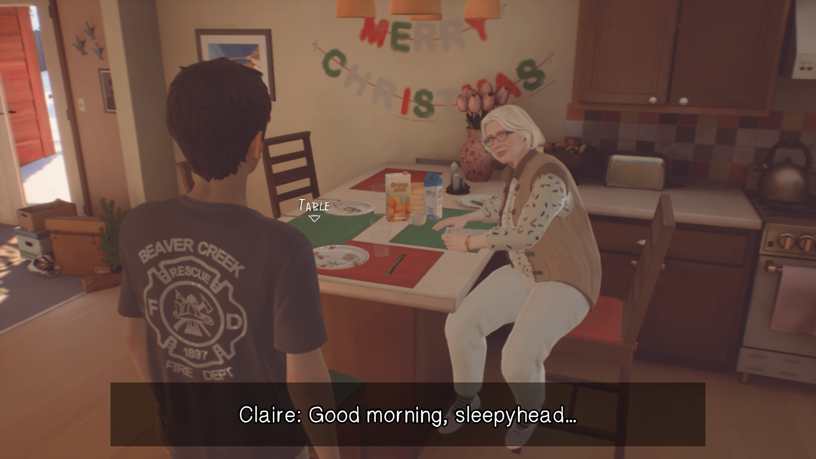 "A breakfast scene, where an older woman is sitting looking at a dark haired teenager. At the bottom of the screen is a black bar with white written subtitles on reading: ""Claire: Good morning, sleepyhead..."""