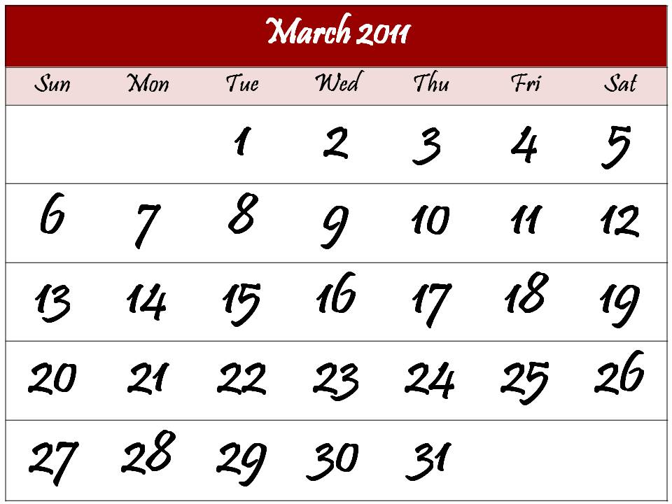 printable calendars march 2011. Printable Calendar 2011 March template free download
