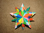 Paolo Bascetta's Stellated Dodecahedron: http://geocities.com/jordimastrullenque/sonobe/tornillo.html#torinstru