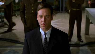 Russell Crowe as John Nash, breaking a code for the US Army.
