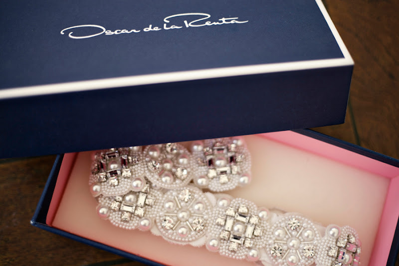 oscar de la renta belt-crystal and pearl