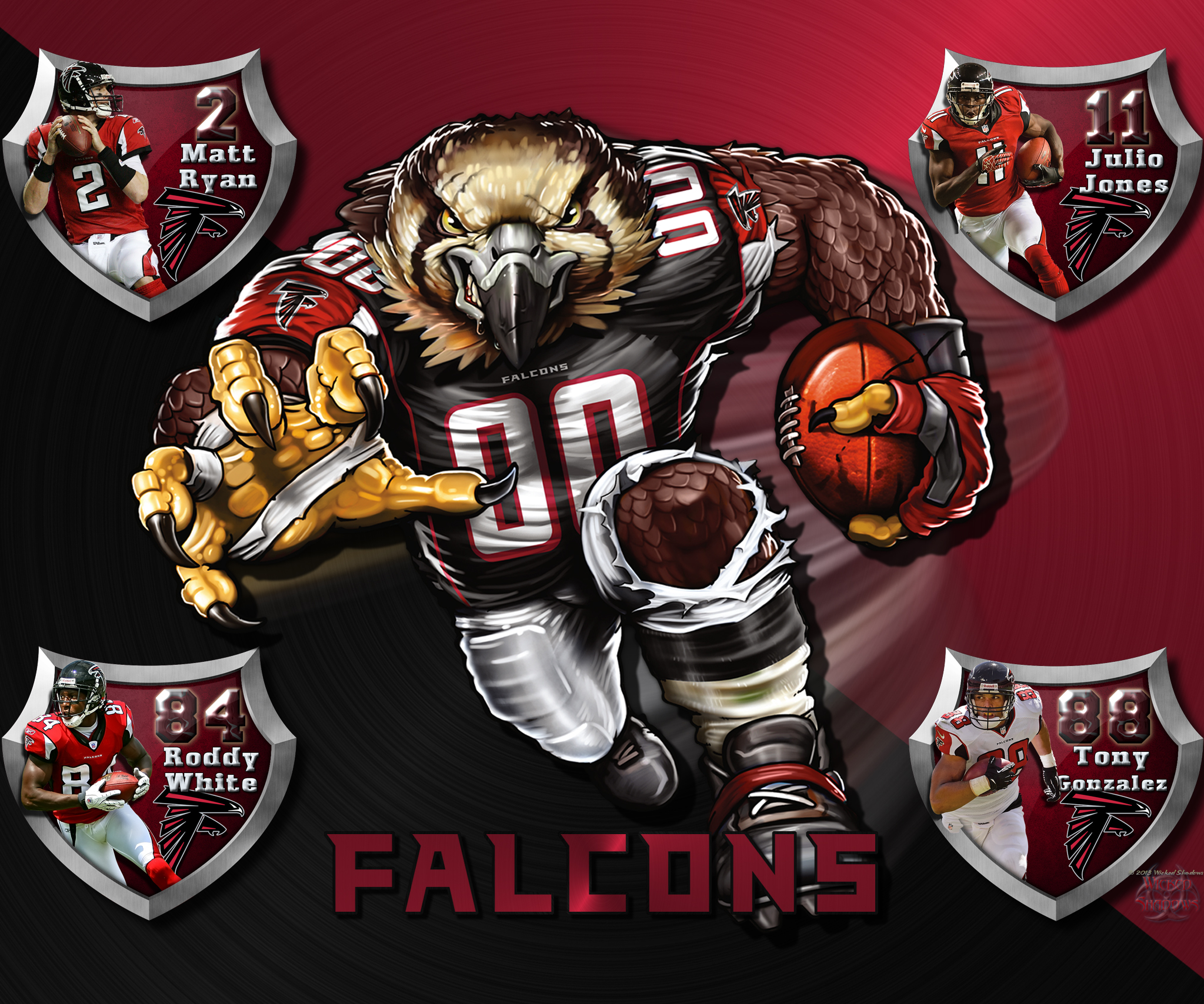 Wallpapers By Wicked Shadows: Falcons Crazy Logo Shield ... | 2047 x 1708 jpeg 1910kB