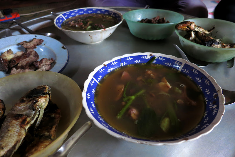 Breakfast: grilled fish, roast new year cow, mystery soup