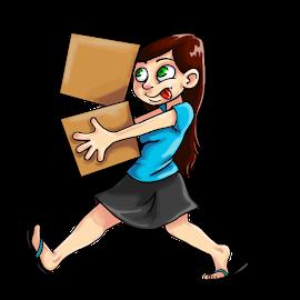 [Descripción de la imágen: una persona con pelo largo y cafe, de piel clara, que lleva sandalias, una camisa azul y una falda negra, cargando dos cajas. Las cajas parecen que se le van a caer y la persona saca la lengua nerviosamente.]