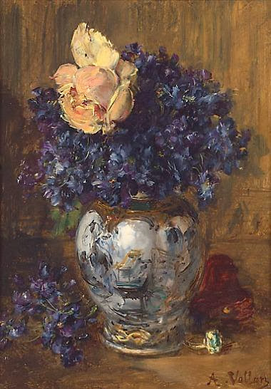 Antoine Vollon - Vase of Violets and a Rose de Nice