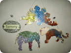 Glittered animals by Sammy.