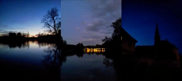 Abends am See und ein Kirchturm bei Nacht.