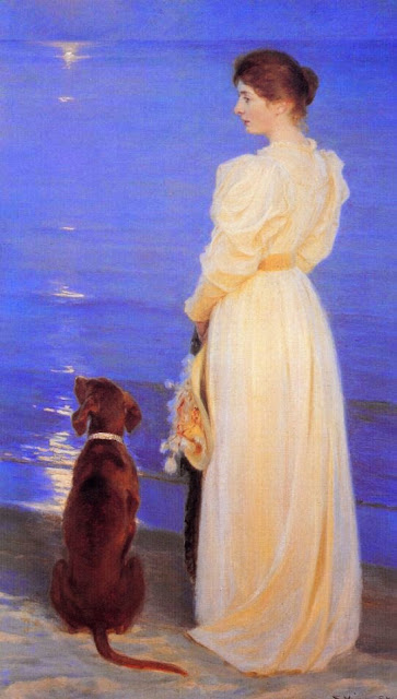 Peder Severin Krøyer - Summer Evening at Skagen the Artists Wife with a Dog on the Beach