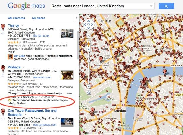 Google Maps y las recomendaciones