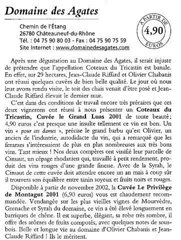 Domaine des Agates - Jean-Pierre Coffe 2002