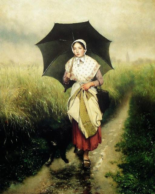 Evariste Carpentier - Jeune fille sous la pluie