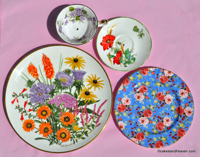 colourful floral mismatched cake stand plates