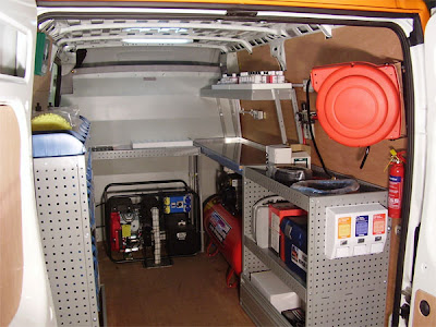 workshop van with generator, racking, compressed air and workbenches