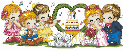 Happy wedding cross stitch pattern