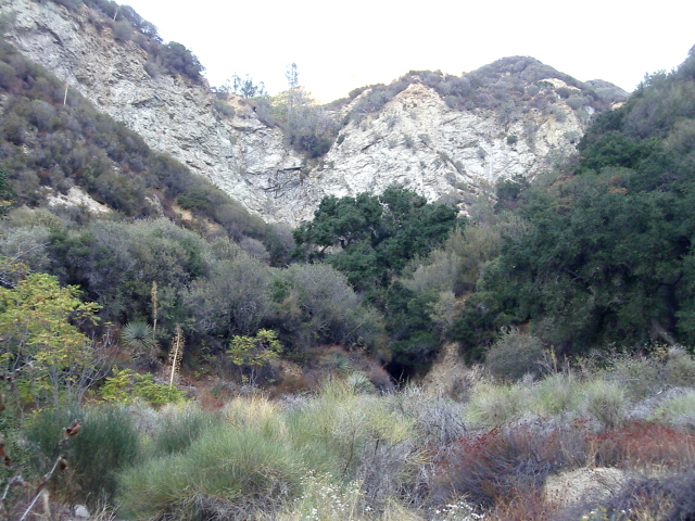 a cliff and a cleft in the land