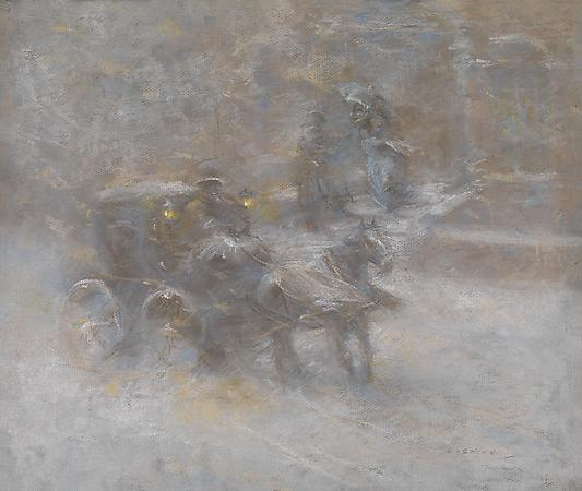 Everett Shinn - Snow Storm, c. 1910