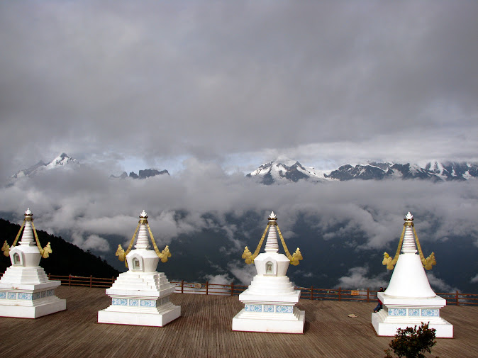 White stupas overlooking the Meili Snow Mountain, Deqin, Yunnan, China (2012)
