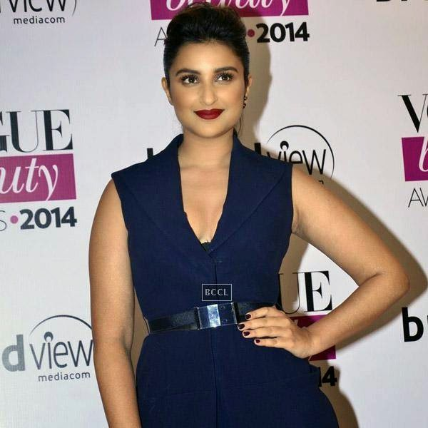 Parineeti Chopra poses as she arrives for Vogue Beauty Awards 2014, held at Hotel Taj Lands End in Mumbai, on July 22, 2014.(Pic: Viral Bhayani)