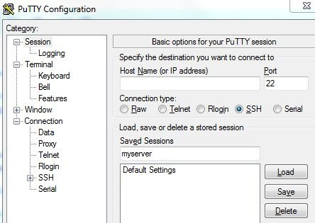 save settings in putty