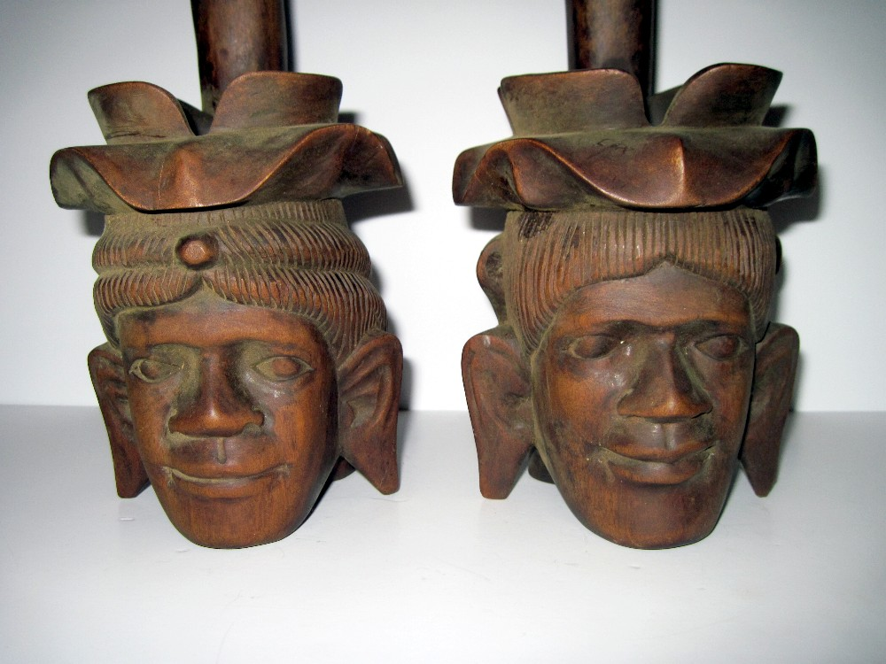 maxwellvintage: Carved Exotic Wood Head Candle Sconces Sculptures