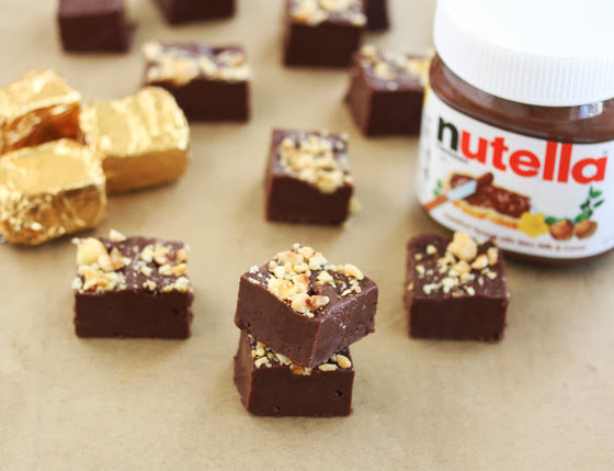 photo of fudge with a container of Nutella