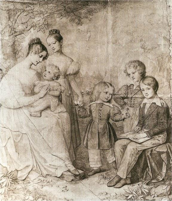 Marie Ellenrieder - Duchess Sophie of Baden and her Children