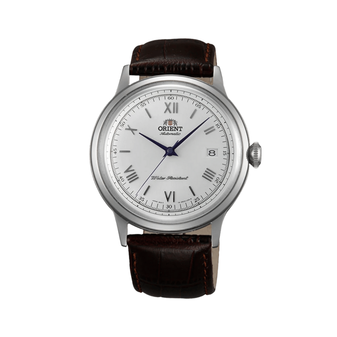 Orient dress watch with a leather strap, a white dial and a silver case.