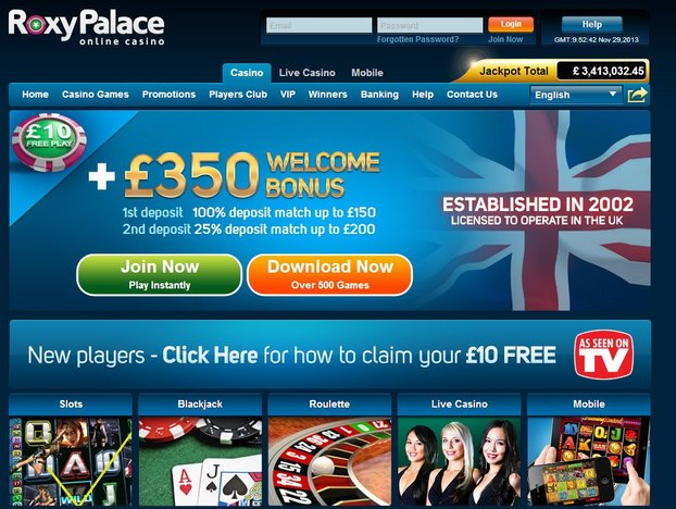 Roxy Palace Casino Home Page